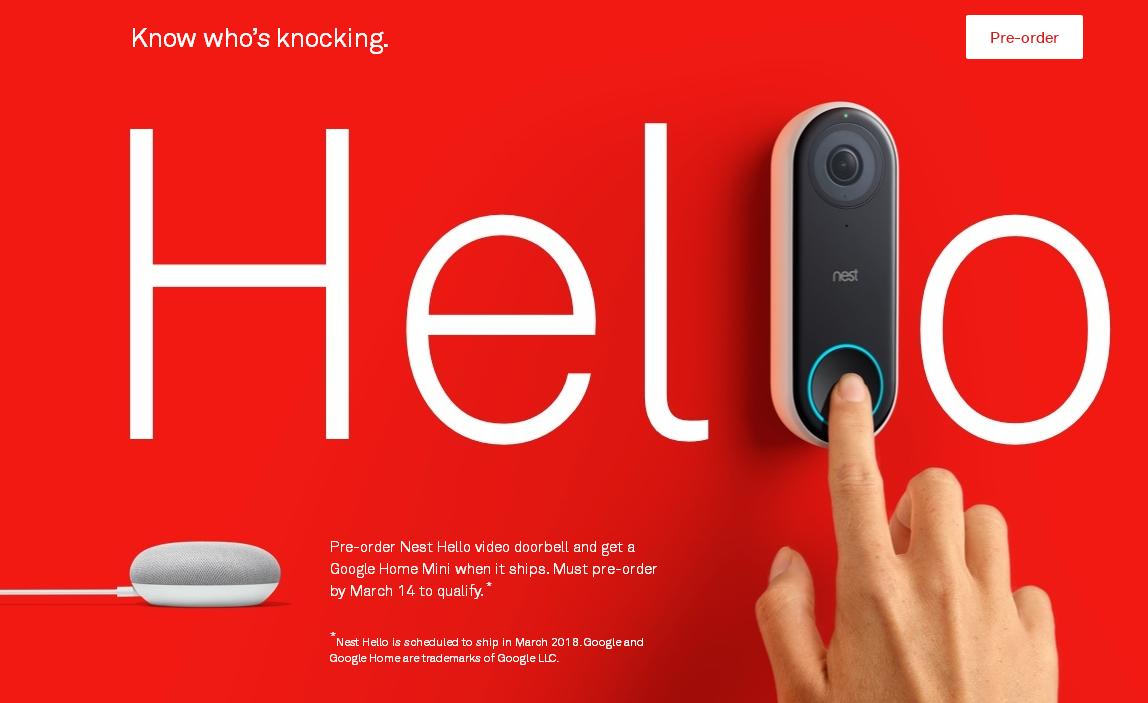 智能家居Nest重归谷歌,可视讯门铃Nest Hello即将发售
